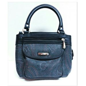 NWOT'S Multi-Compartment Black Paisley Handbag
